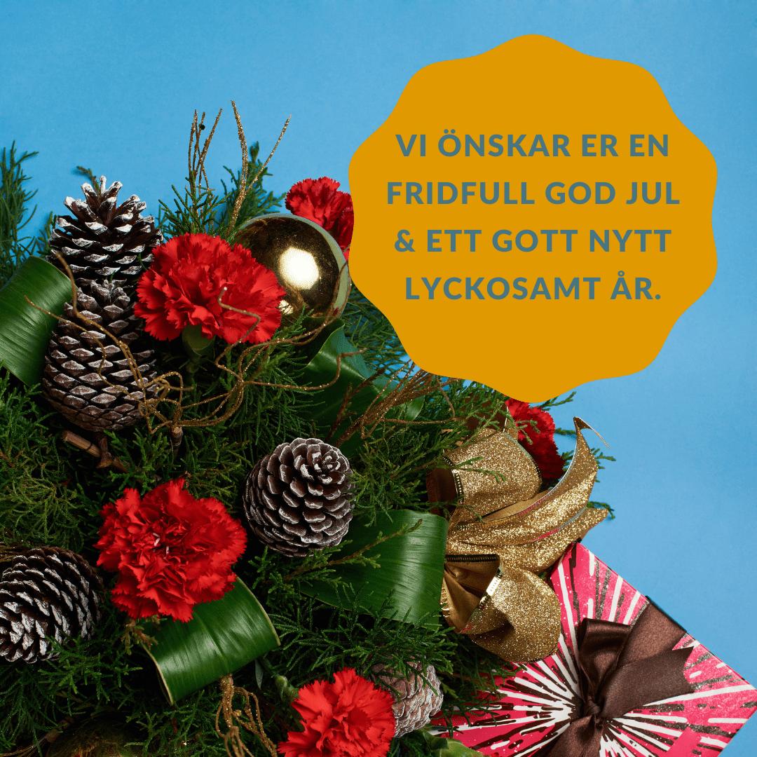 En julhälsning som passar till släktingar; Vi önskar er en fridfull god jul & ett gott nytt lyckosamt år.