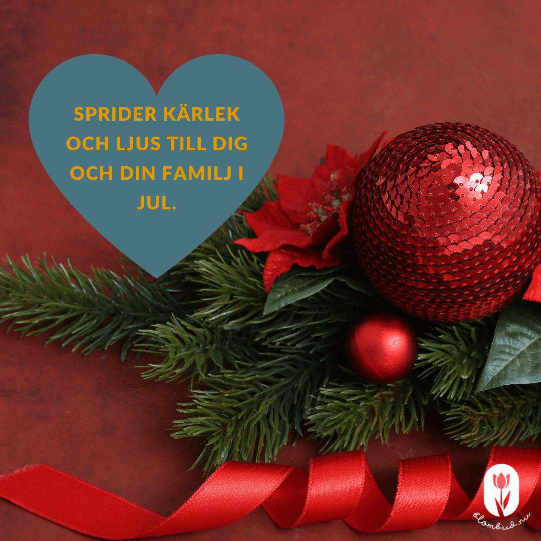 Klassisk julhälsning, Sprider kärlek och ljus till dig och din familj i jul.