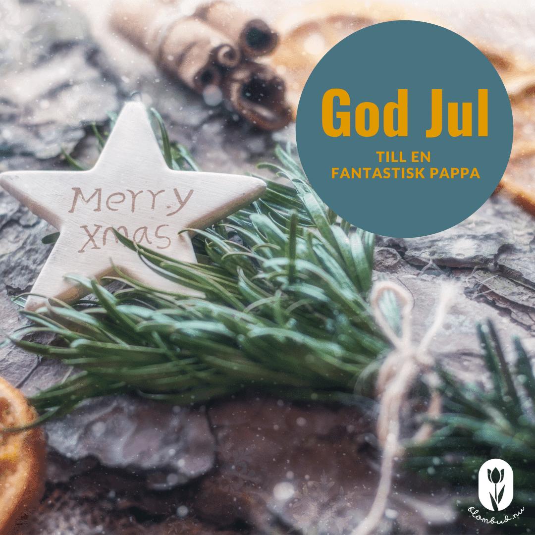 Grankvist med julhälsningen, God Jul till en fantastisk pappa.