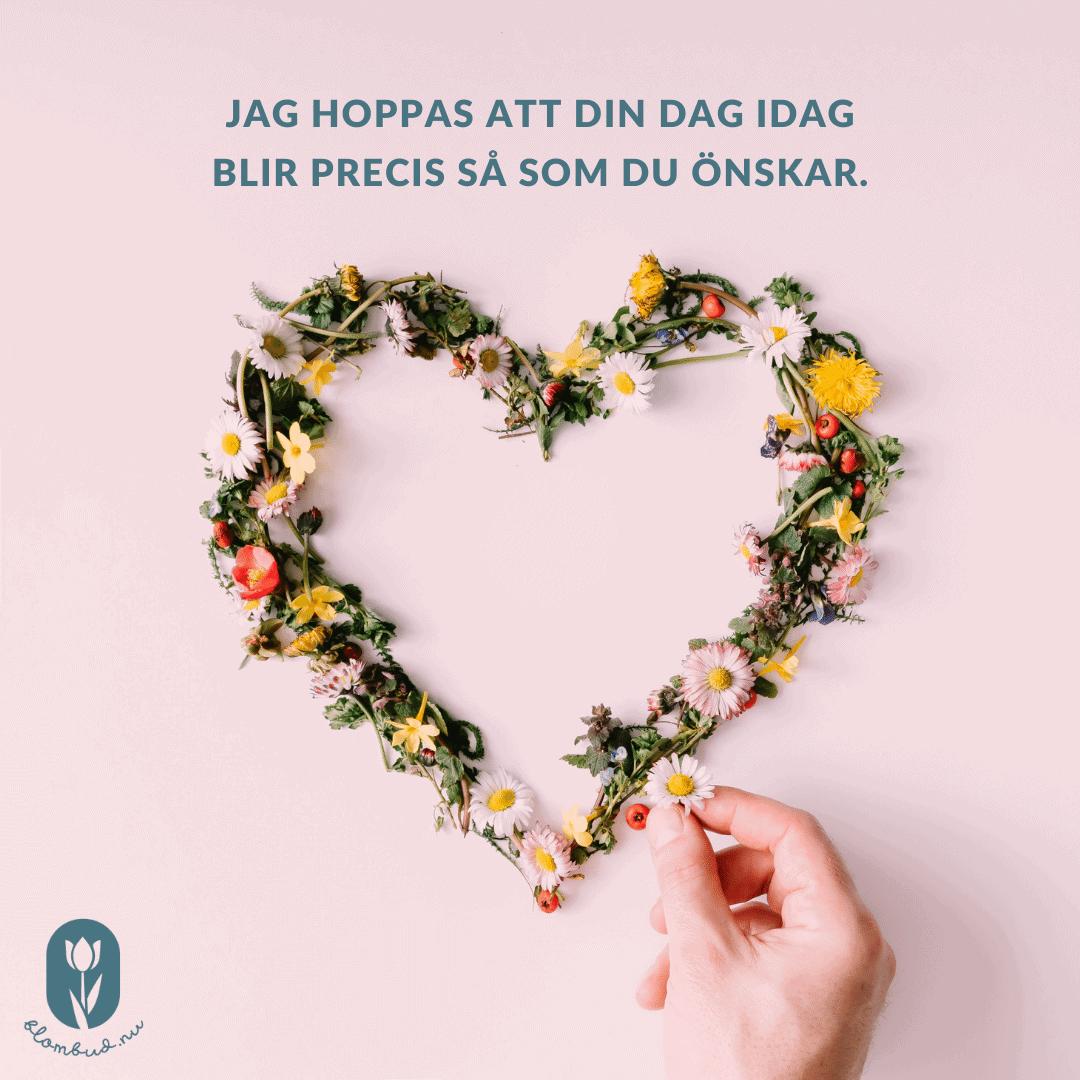 Alla Hjärtans Dag text - Jag hoppas att din dag idag blir precis så som du önskar.