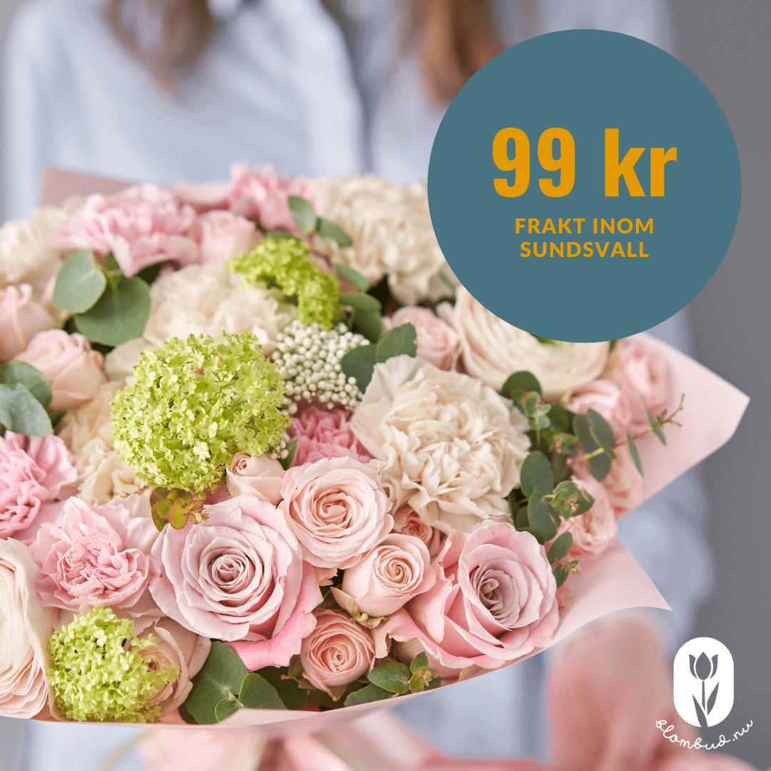 Det kostar ca 99 kr för att få blomsterbud i Sundsvall.