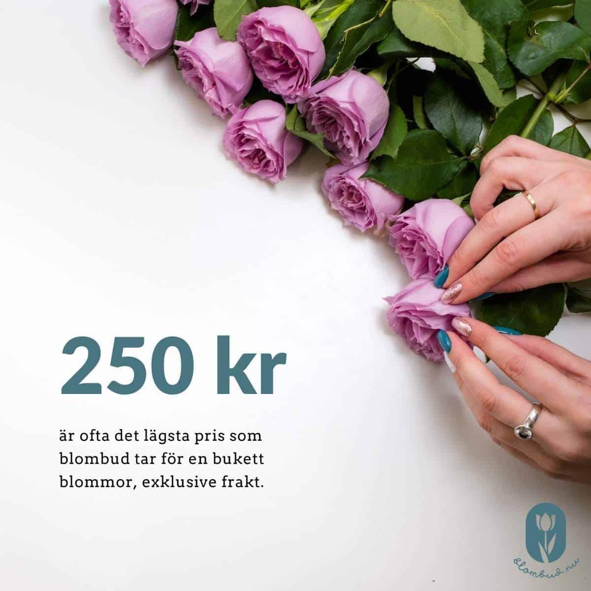 250 kr är ofta det lägsta pris som blombud tar för en bukett blommor exklusive frakt.